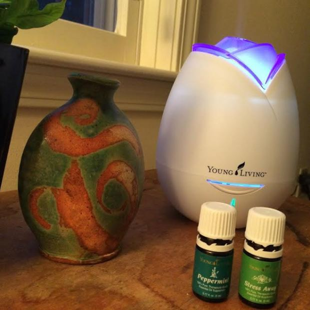 Diffusing oils makes your home smell amazing, but  you also get the aromatherapy benefits. Here I diffused an oil blend called Stress Away with Peppermint for unwinding and uplifting after a long day.